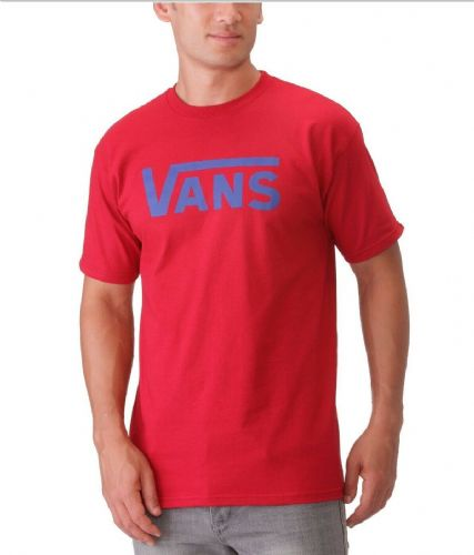 Vans Men's Classic Logo T-Shirt Red / Blue BNWT VGGGTUV free UK RM24 delivery
